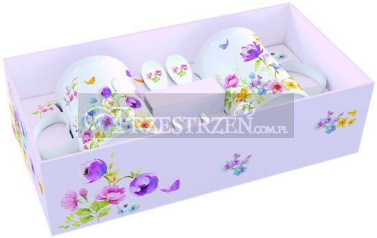 2 PORCELANOWE KUBKI Z ŁYŻECZKAMI - Polne Kwiaty (314 FLDC)