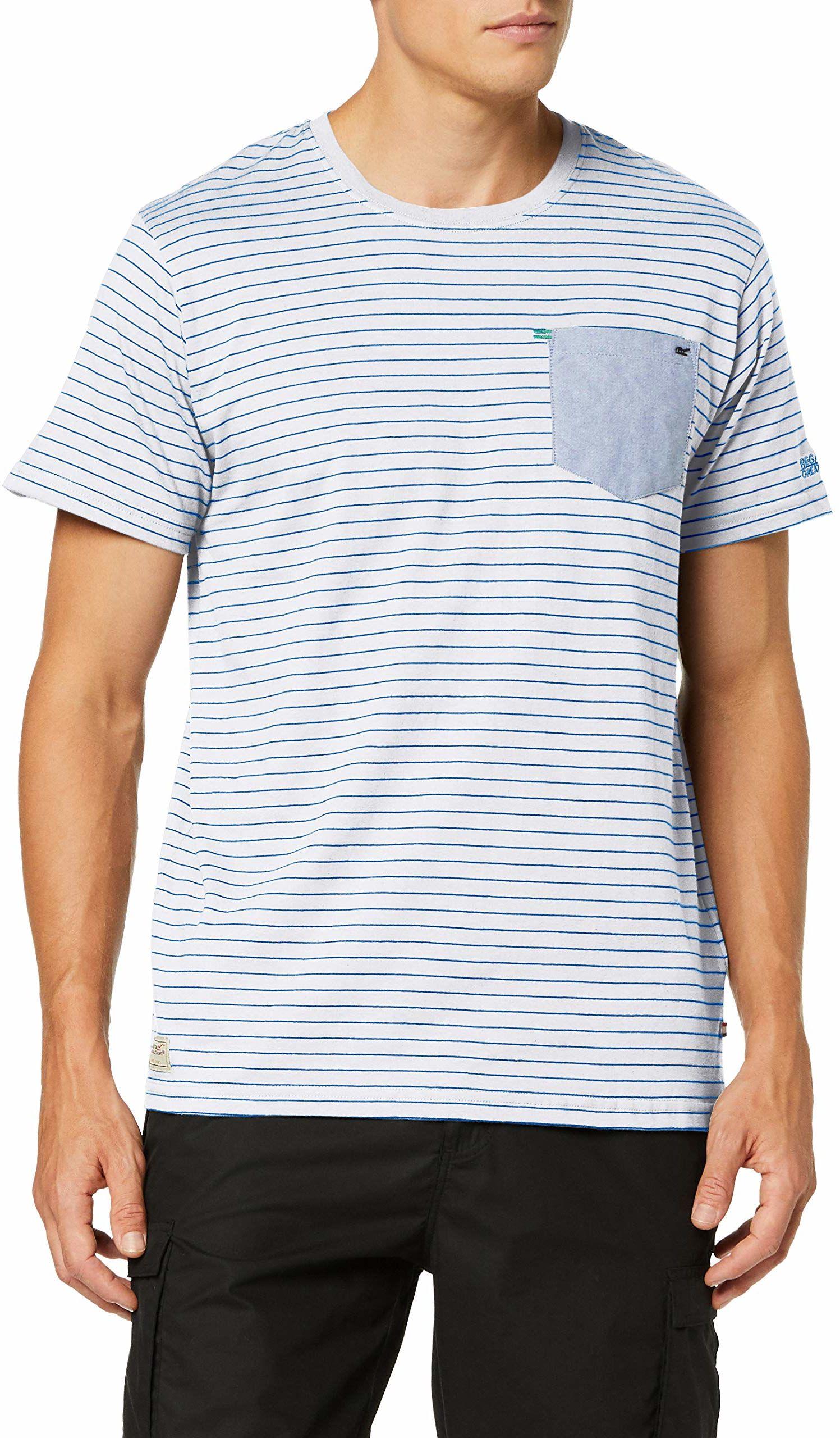 Regatta męska koszulka teagan Coolweave paski piersiowa kieszeń T-shirt White/Oxford Blue L