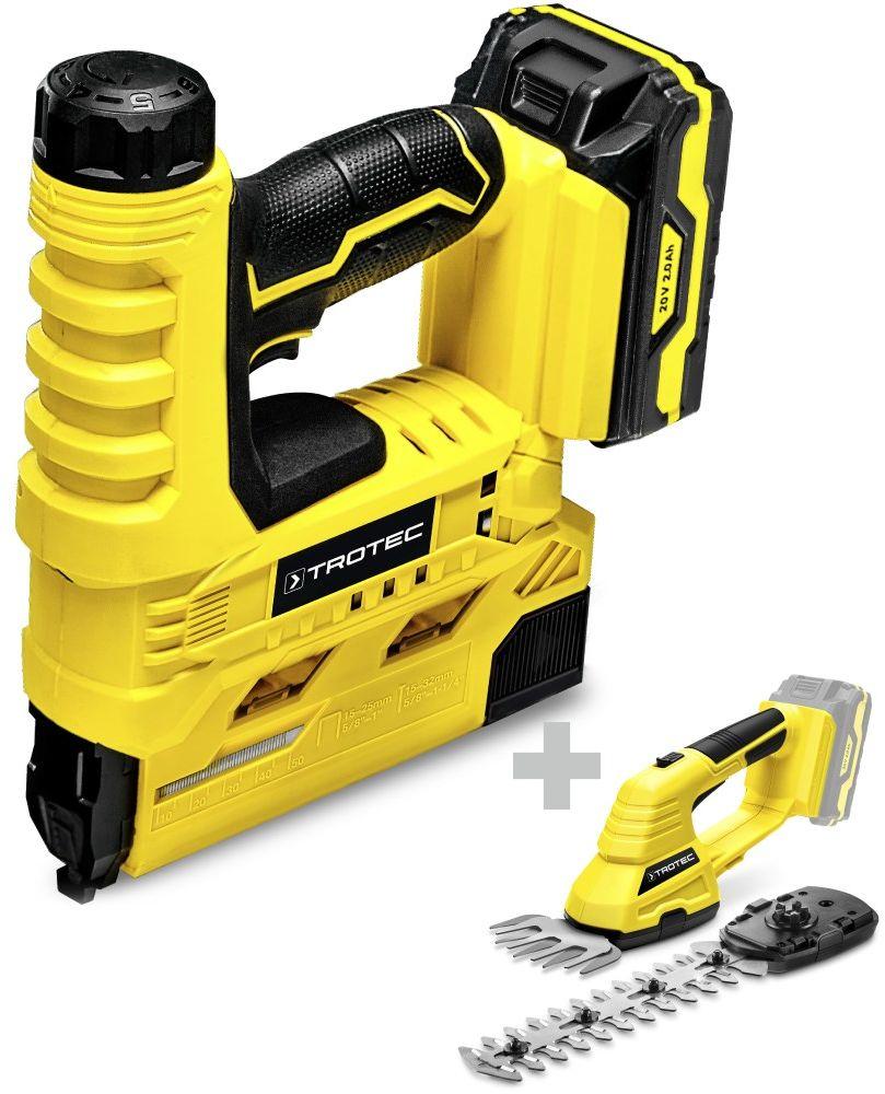 Zszywacz akumulatorowy PTNS 10 20V + Akumulatorowe nożyce do trawy i krzewów PGSS 10-20V
