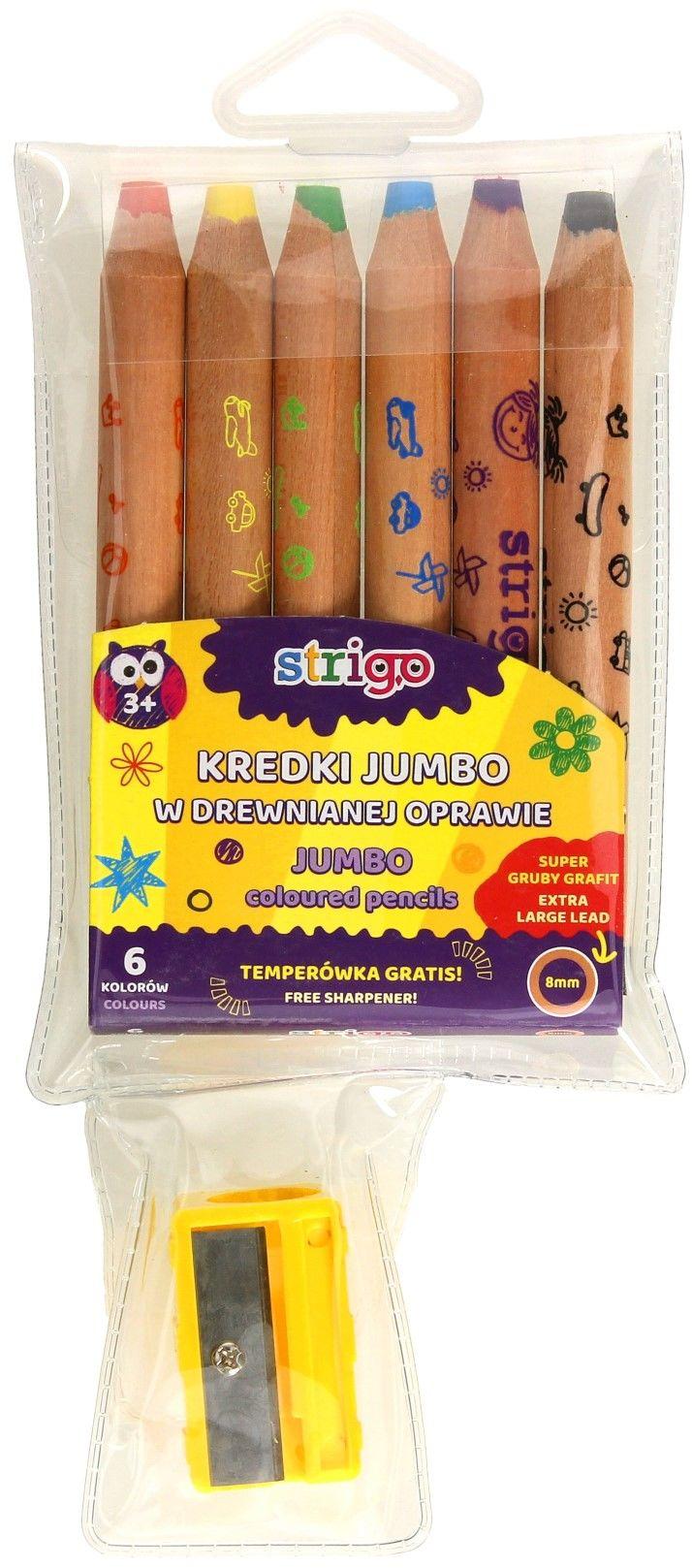 Kredki drewniane Jumbo 6kol Strigo + temperówka