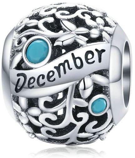 Rodowany srebrny charms do pandora miesiąc grudzień month december cyrkonie srebro 925 CHARM225