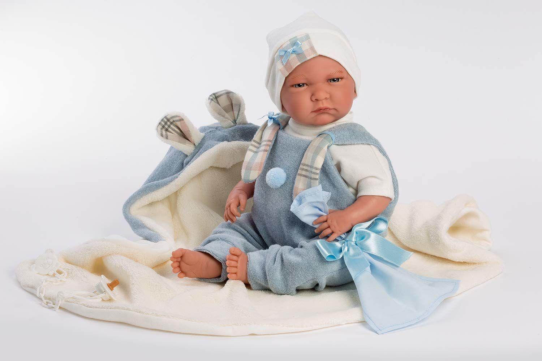 Llorens 1074079 Lalo chłopiec lalka z niebieskimi oczami i miękkim ciałem, lalka niemowlęca w śpioszkach, łącznie z kocem, smoczkiem i łańcuszkiem na smoczek, 42 cm