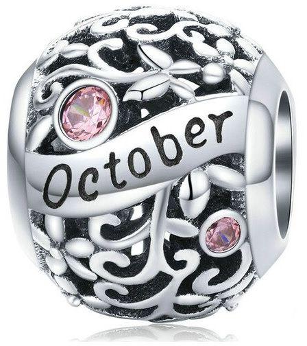 Rodowany srebrny charms do pandora miesiąc październik month october cyrkonie srebro 925 CHARM223