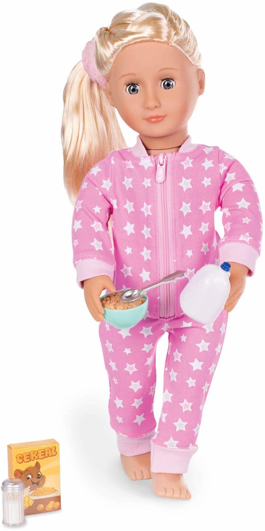 Our Generation BD30259Z Ubrania - Onesies Funzies-Piżama strój dla lalek w wieku 3, 4, różowy i biały, nadruk w gwiazdach