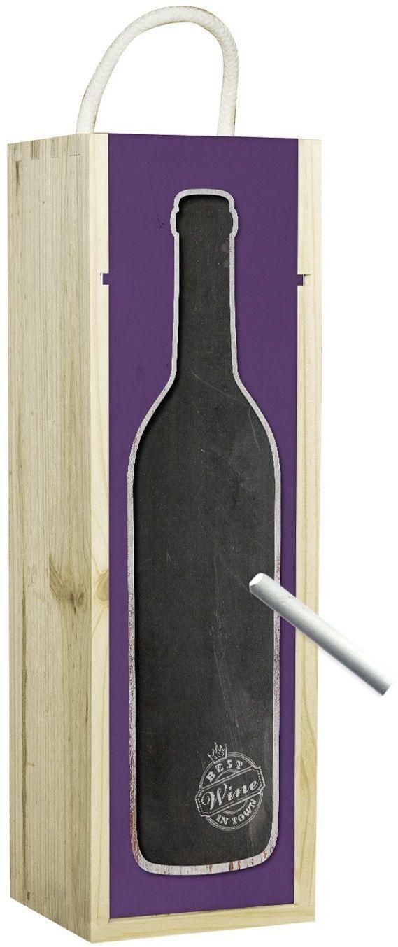 Contento pojemnik na wino, drewno, fioletowy, 34,5 x 11 x 10 cm