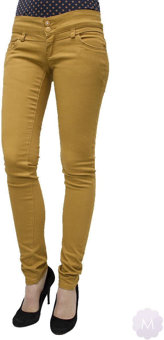 Spodnie jeansowe rurki biodrówki żółte - ŻÓŁTY