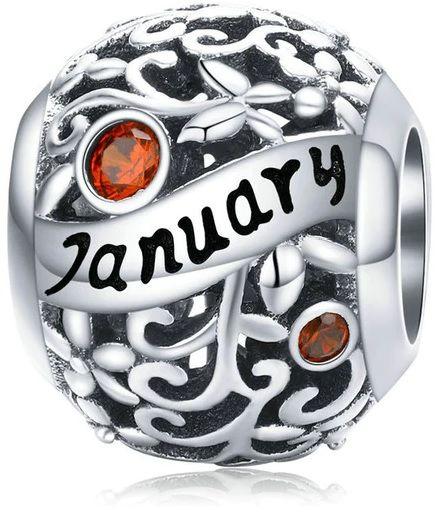 Rodowany srebrny charms do pandora miesiąc styczeń month january cyrkonie srebro 925 CHARM214
