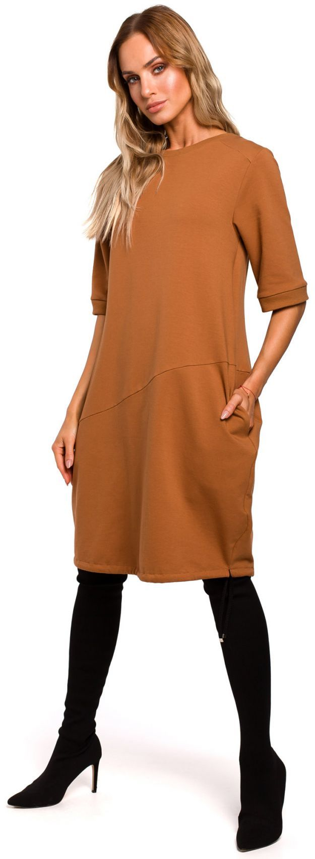 M451 Sukienka bombka - karmelowa
