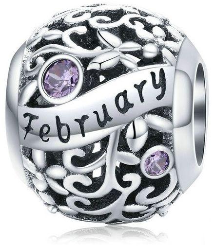 Rodowany srebrny charms do pandora miesiąc luty month february cyrkonie srebro 925 CHARM215
