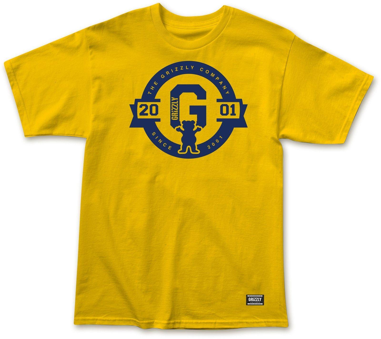 t-shirt męski GRIZZLY 2001 BANNER TEE Gold