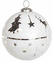 EUROCINSA Ref.28018 szklana kula zawieszka biała ze srebrnymi jeleniami, pinami i gwiazdkami 15 Ø cm 1 sztuka, 15 cm