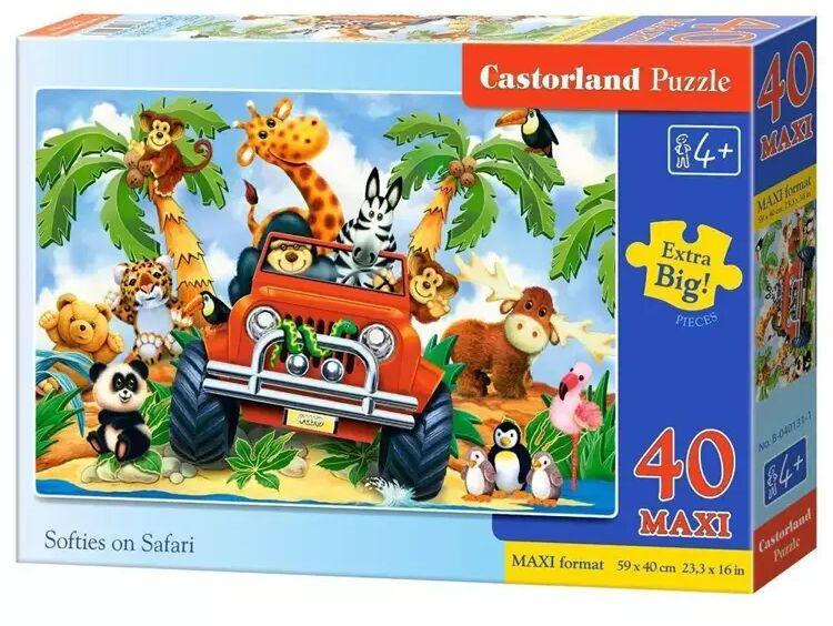 Puzzle 40 maxi - Pluszaki na Safari CASTOR - Castorland