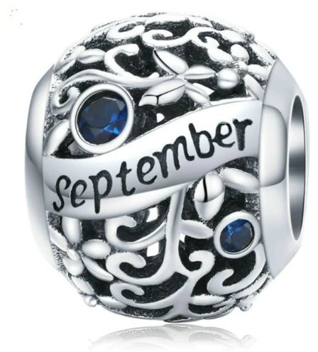 Rodowany srebrny charms do pandora miesiąc wrzesień month september cyrkonie srebro 925 CHARM222