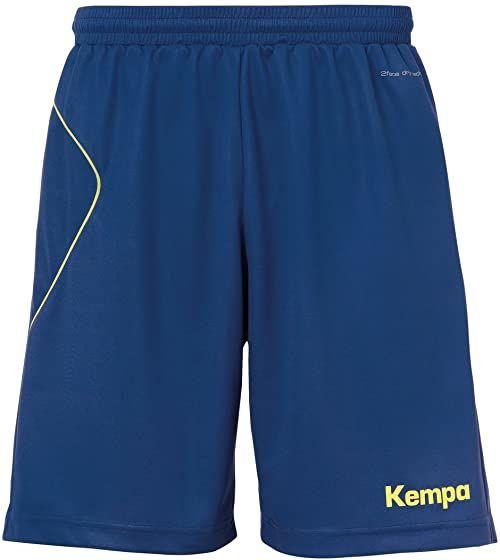 Kempa męskie spodnie Curve Shors, ciemnoniebieskie/fluo żółty, L