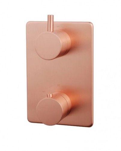 Bateria prysznicowa podtynkowa 12,5x18,5 cm,szczotkowana miedź/ różowe złoto