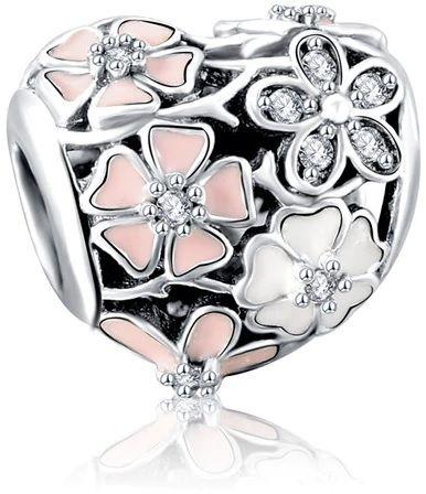 Rodowany srebrny charms do pandora serce heart kwiatki flowers cyrkonie srebro 925 PAS283
