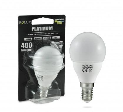 Żarówka POLUX LED 5,5W 35W gwint E14 400lm ciepła/żółta barwa światła POLUX/SANICO- wysyłka 24h (na stanie 4 sztuki)