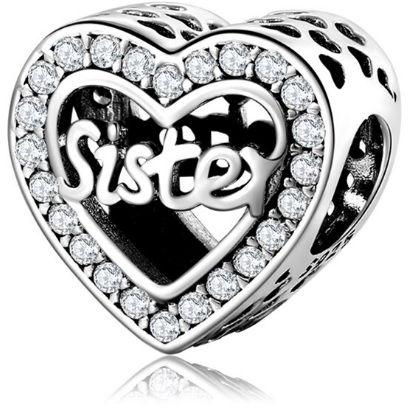 Rodowany srebrny charms do pandora serce heart siostra sister cyrkonie srebro 925 CHARM206