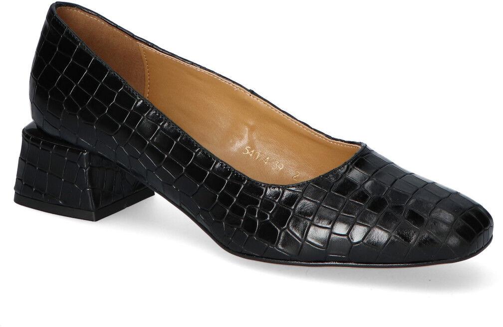 Czółenka Sagan 4074 Czarne krokodyl