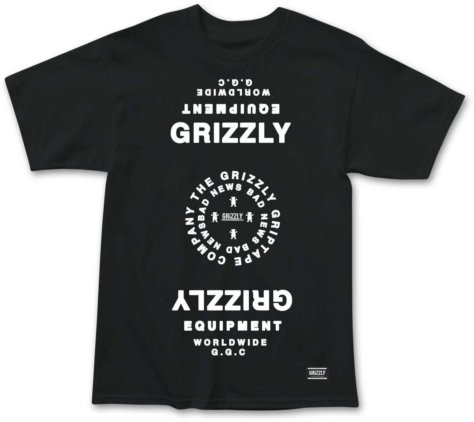 t-shirt męski GRIZZLY MIRRORED TEE Black