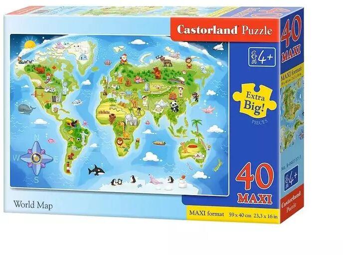 Puzzle 40 maxi mapa świata - CASTOR