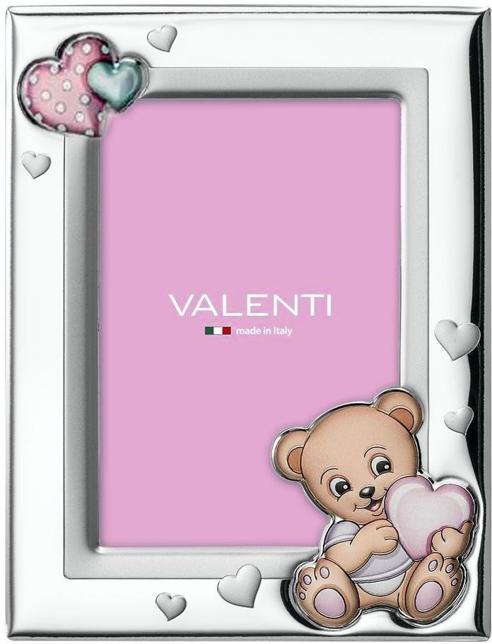 Ramka Miś z sercem Rozmiar: 9x13 cm Kolor: Różowy SKU: VL73115/3LR