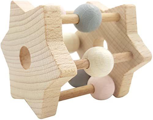 Hess 11001 - drewniana zabawka, grzechotka z gwiazdą z drewna, naturalny różowy