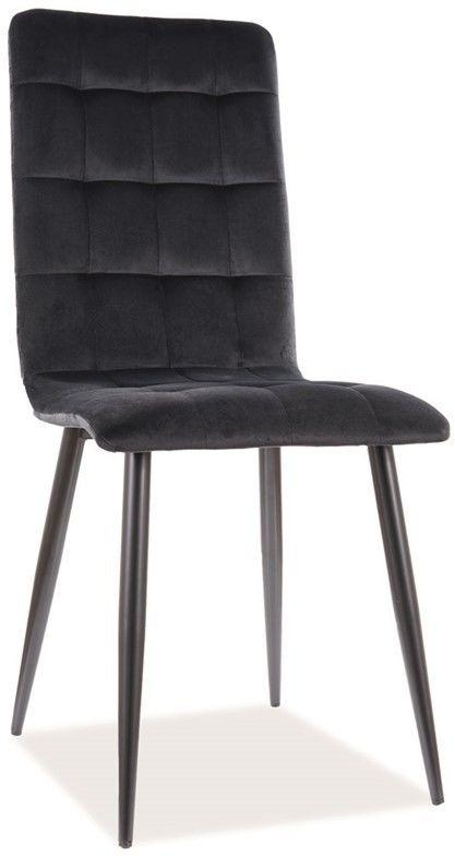 Krzesło do jadalni czarne welur OTTO VELVET na czarnym stelażu