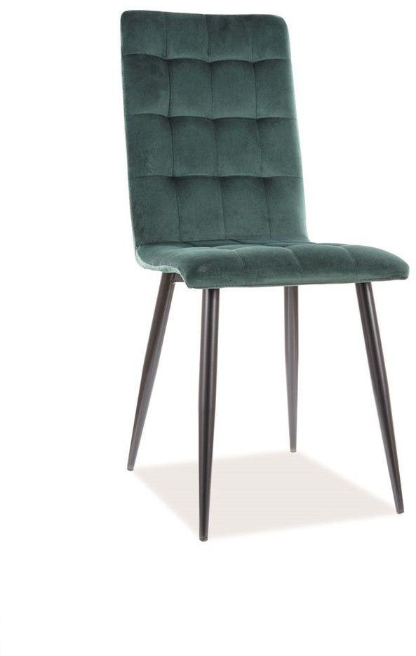 Krzesło do jadalni zielone welur OTTO VELVET na czarnym stelażu