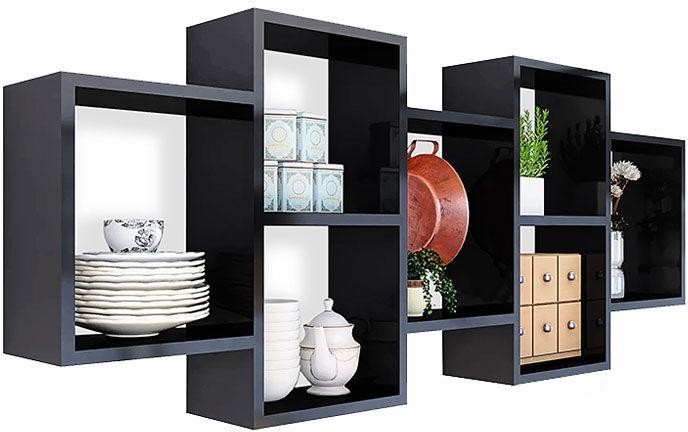 Czarna minimalistyczna półka ścienna - Timona