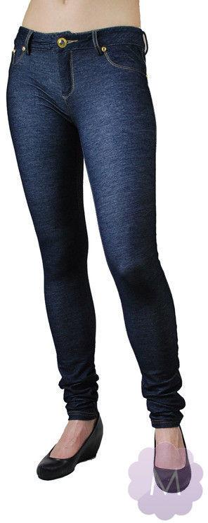 Elastyczne spodnie leginsy niebieskie rurki z wyższym stanem