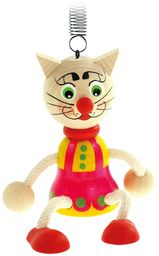 Bino & Mertens 90908  tortownica kolorowy kot z drewna. Zabawny, kolorowy huśtak z piórem Na kocu, nad łóżeczkiem dziecięcym lub przewijakiem Rozmiar ok. 10 x 5 x 19 cm