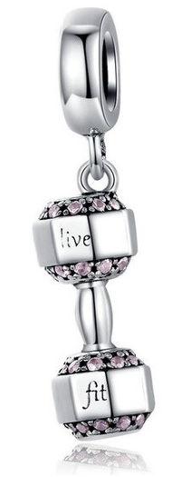 Rodowany srebrny wiszący charms do pandora hantel ciężarek live fit cyrkonie srebro 925 CHARM207