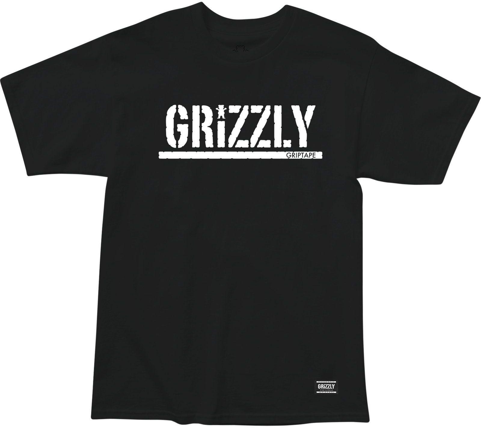 t-shirt męski GRIZZLY STAMP TEE Black/White
