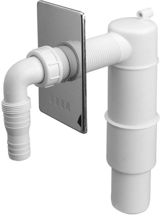 Przyłącze do pralki lub zmywarki podtynkowe z zasyfonowaniem z odejściem 50mm ,maskownica chrom [30] (syfon)