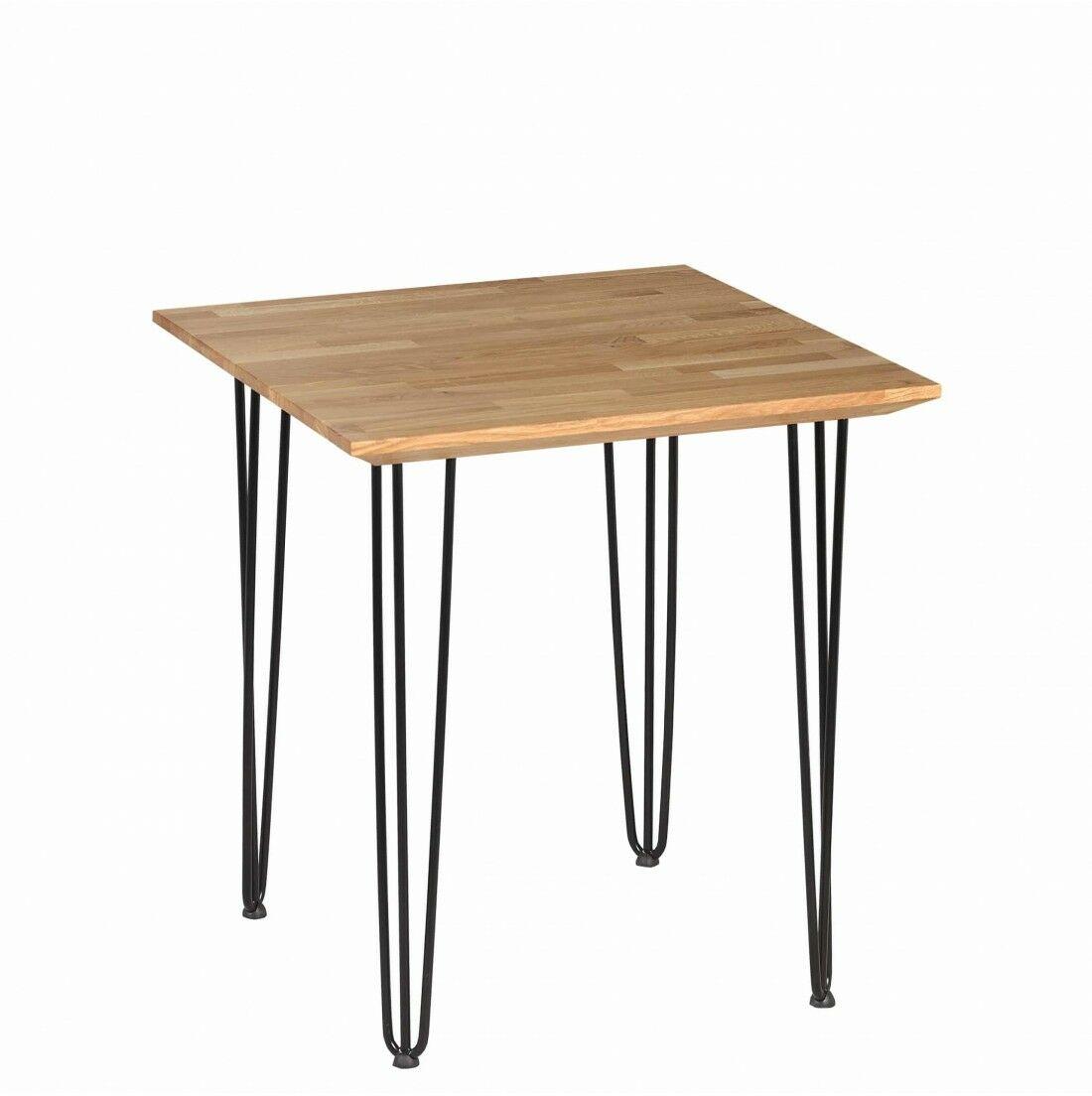 Stół loftowy dębowy Iron Oak Wysokość - 750, Wymiar - 700x700, Typ nogi - hairpin, 3-prętowe, Grubość blatu - 40
