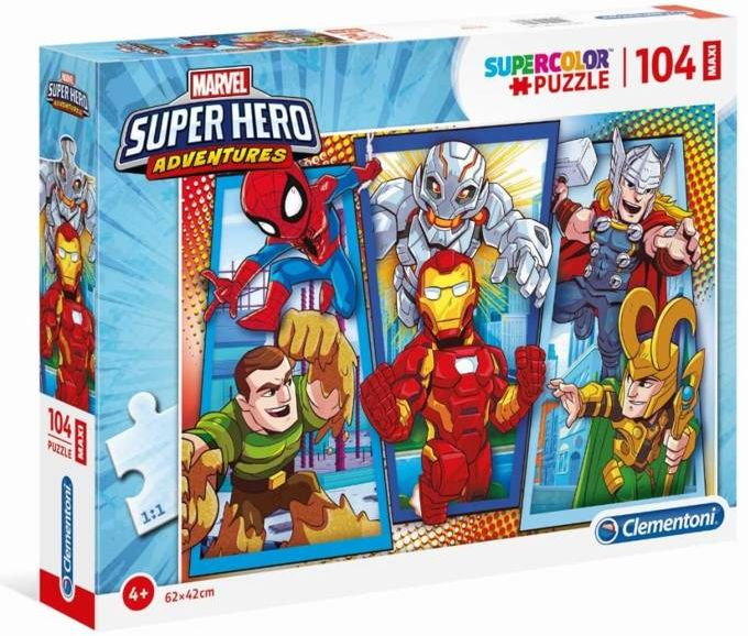 Puzzle 104 Super Kolor Superhero maxi - Clementoni