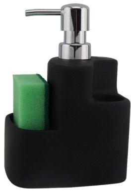CZARNY DOZOWNIK CERAMICZNY mydła/płynu + POJEMNIK 21x12,2x8,1 cm MATOWY