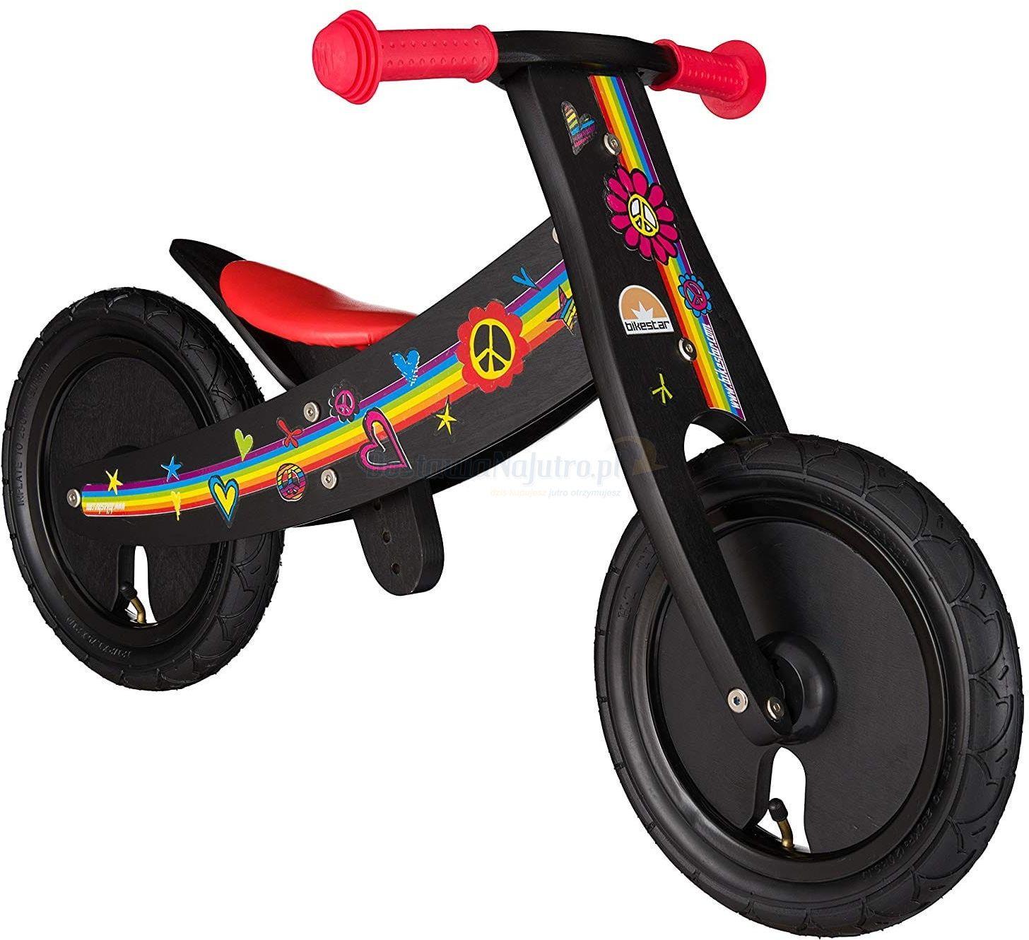 """Rowerek biegowy dwukołowy Bike Star 12"""" drewniana obracana rama 2 w 1 czarny"""