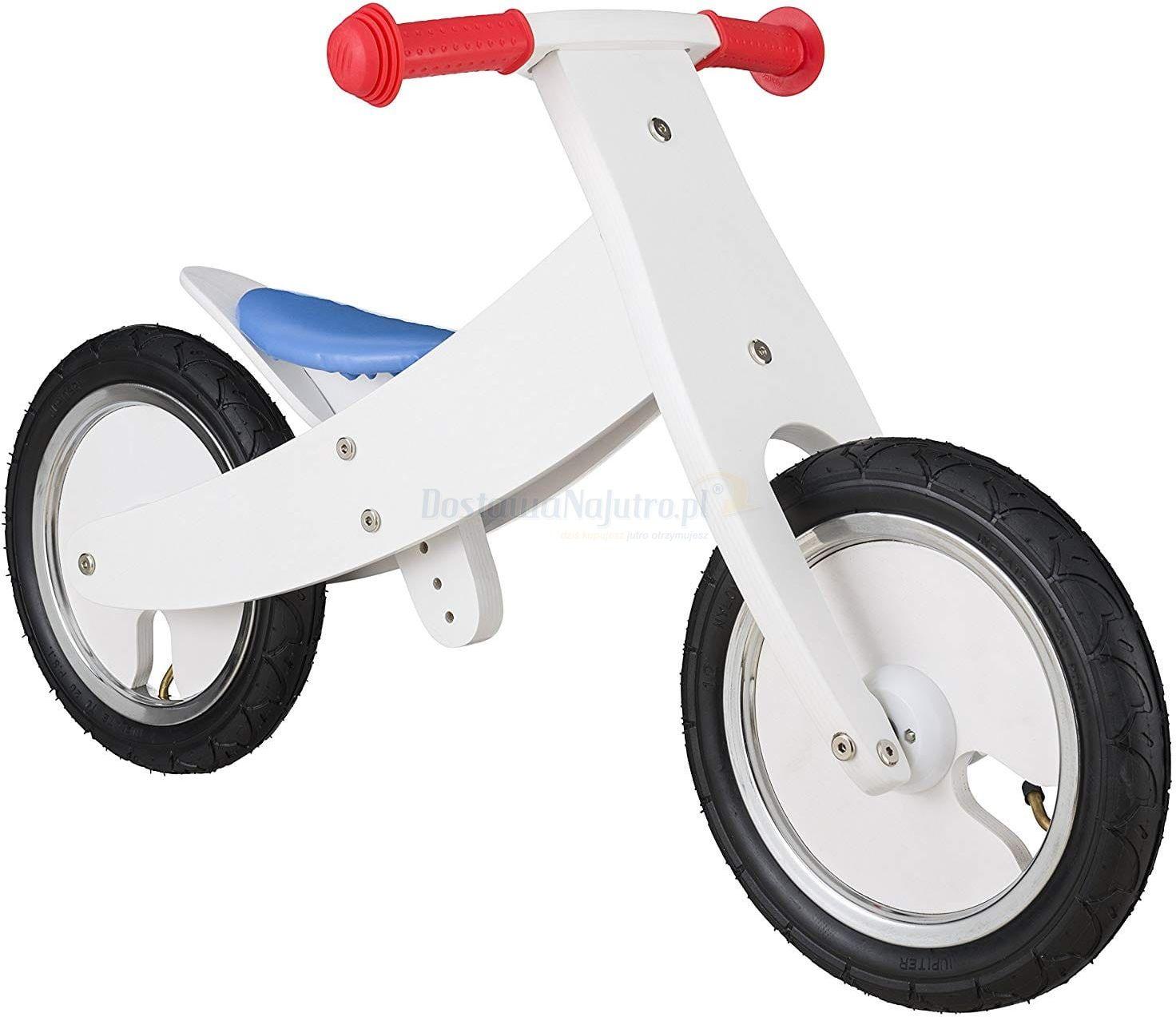 """Rowerek biegowy dwukołowy Bike Star 12"""" drewniana obracana rama 2 w 1 biały"""