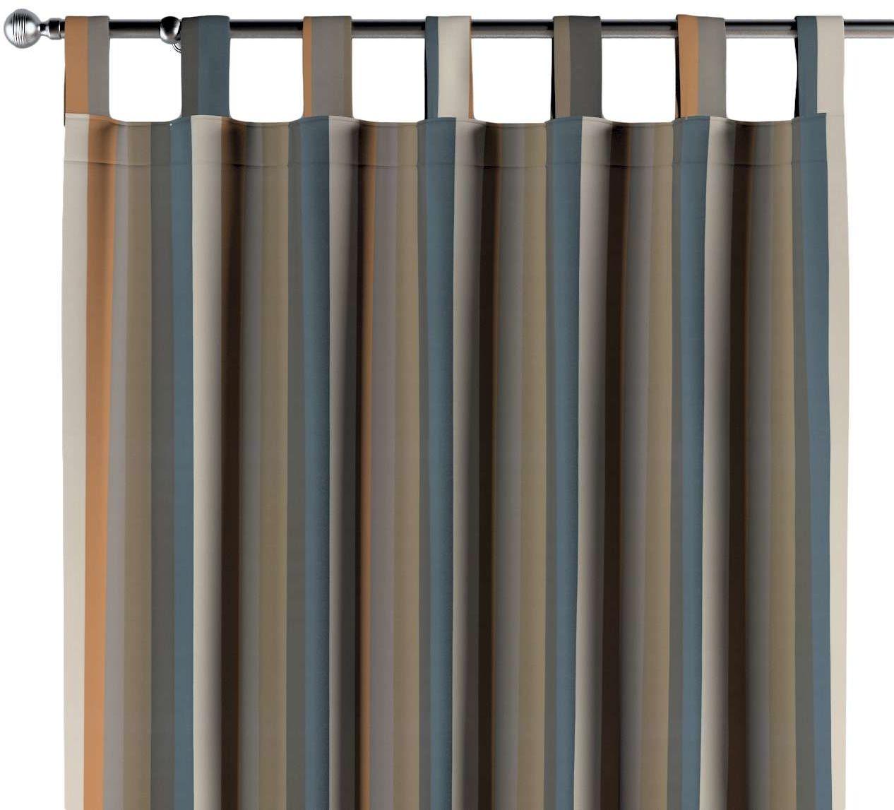 Zasłona na szelkach 1 szt., kolorowe pasy w rudo-brązowo-niebieskiej kolorystyce, 1szt 130  260 cm, Vintage 70''s