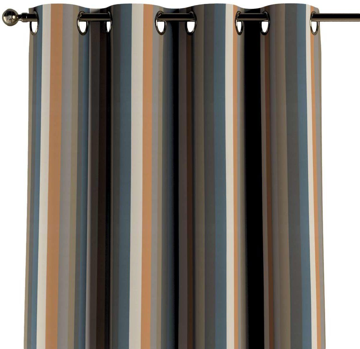 Zasłona na kółkach 1 szt., kolorowe pasy w rudo-brązowo-niebieskiej kolorystyce, 1szt 130  260 cm, Vintage 70''s