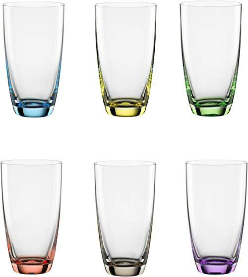 """Bohemia Cristal 093 006 051 kubek do long drinków ok. 350 ml ze szkła kryształowego zestaw 6 sztuk """"Viva Colori"""""""