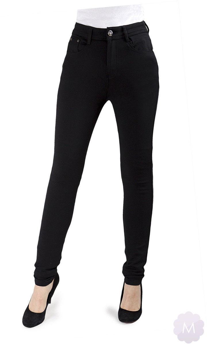 Elastyczne spodnie czarne leginsy rurki z wysokim stanem - CZARNY