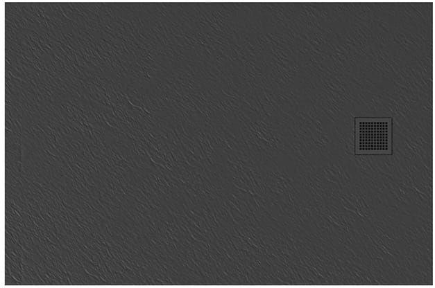 New Trendy Brodzik MORI prostokątny, konglomerat 140x80x3cm szary B-0400