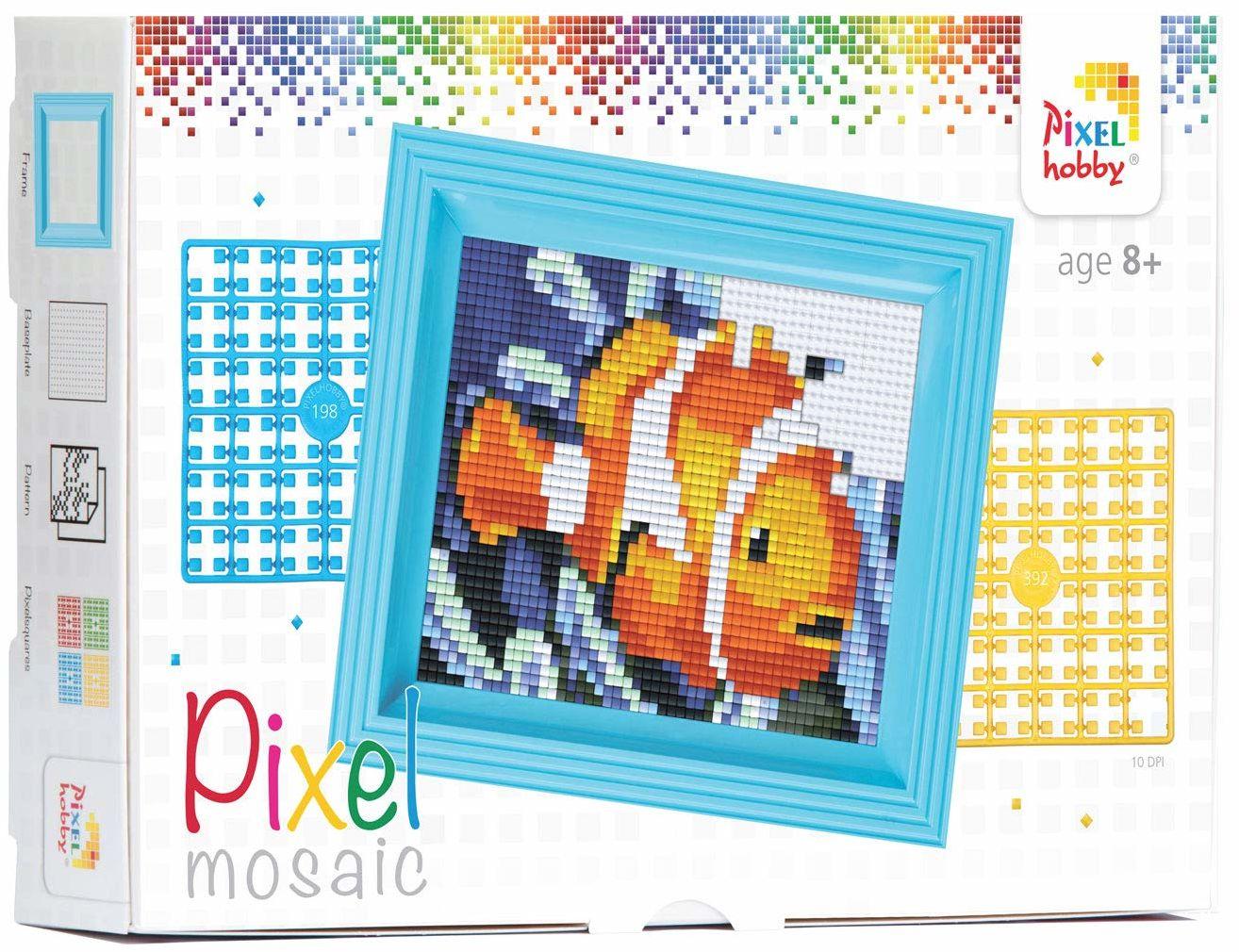 Pracht Creatives Hobby P31157 - pikselowa mozaika opakowanie na prezent Nemo, obraz pikselowy z ramką do tworzenia dla dzieci, chłopców i dziewczynek, jako mały prezent, upominek na urodziny dziecka