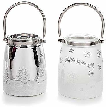 EUROCINSA nr 29035 zestaw 6 latarni ze szkła (3 matowe + 3 metalowe) z motywami bożonarodzeniowymi i metalowym uchwytem 12 Ø x 16 cm 1 zestaw, aluminium/biały, rozmiar uniwersalny