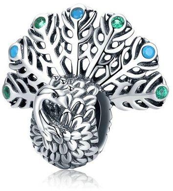 Rodowany srebrny wiszący charms do pandora dumny paw peacock cyrkonie srebro 925 CHARM190