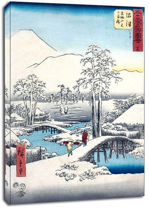 Numazu fuji in clear weather after snow, from the ashigara mountains, hiroshige - obraz na płótnie wymiar do wyboru: 40x60 cm
