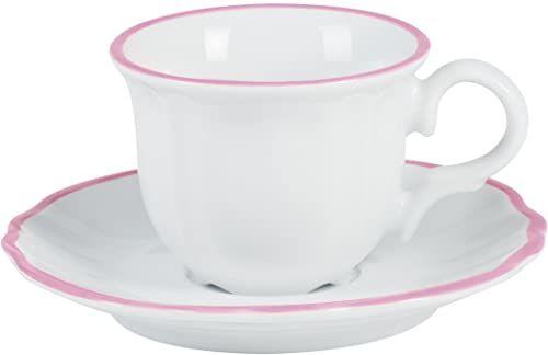 Bitossi Home PAR351 zestaw 6 kubków do kawy z talerzem, linia Parisienne, różowe